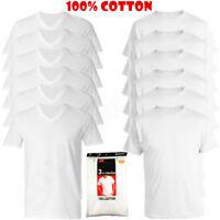 6-Pack V/Crew-Neck For Men's 100% Cotton Tagless T-Shirt Undershirt Tee White