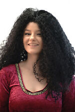 70's-Cher-Stage-Panto-Fancy Dress-Tangled-Mother Gothel LONG BLACK CURLY WIG