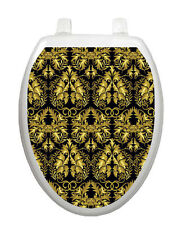 Toilet Tattoos Roccoco Black and Gold Vinyl Seat Cover  Elegant