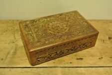 Vintage Wooden Box with Hand Carved Floral Design.