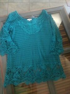 UMGEE Turquoise Cutout Long Sleeve pullover sweater/Top Sz L