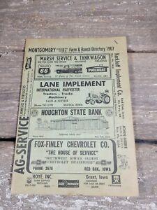 Vintage 1967 Montgomery County Iowa Red Oak Farm Directory Advertising
