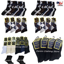 6~12 Credos Men Dress Socks Argyle Solid Black Multi Color Cotton 9-11 10-13 Lot