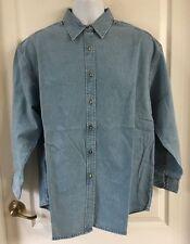 New Colds Concept Men Denim Shirt Long Sleeve Cotton  Large