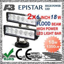 """2x A&B 6"""" 18W 6-LED LIGHT BAR OFF ROAD WORK LAMP 9-32V Flood Beam 1350LM"""