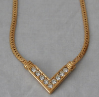 Avon 1982 Galaxy of Color Necklace Gold Tone Herringbone Rhinestone