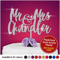 Personalised Calligraphy Mr and Mrs Wedding Cake Topper Gold Silver Pink Black