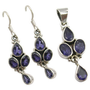 CUT IOLITE Silver Matching Jewelry Set 8.3 Grams 925 Pure Earrings And Pendant