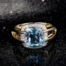 Real 14k Yellow Gold Natural Diamond Natural Cushion 9x9mm Topaz Gemstone Ring
