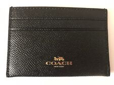 NWT Coach Authentic F57312 Black Crossgrain Leather Flat Card Case $65