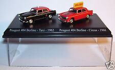 COFFRET ATLAS DUO 2 METAL UH PEUGEOT 404 BERLINE TAXI 1962 + CIRCUS 1966 HO 1/87