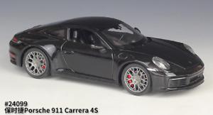 Welly 1:24 Porsche 911 Carrera 4S Black Diecast Model Sports Racing Car