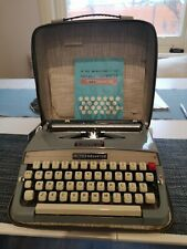 RARE STEEL LEMAIR HELVETIA  Typewriter - Blue - Portable + Case - Working Order!