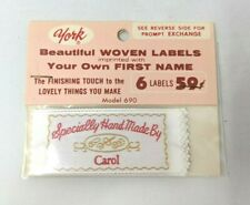 New VTG York Woven Labels Name Tag Personalized Specially Hand Made Carol Sew On