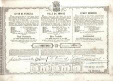 Kingdom Italy Bond Municipal Loan 1869 City Venice Venezia 30 lire Uncancelled