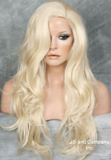 LATEST Fashion Trend Long Wavy Solid Pale Blonde SKIN TOP WIG JSCO 613