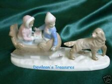 China Figurine, Statue of Children, Sleigh and Dog