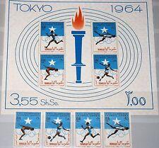 SOMALIA 1964 60-63 Block 1 274-75 C95-6a Olympics Tokyo Sport Soccer Running MNH
