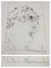Horst Janssen : Selbstportrait Original Lithographie 1968