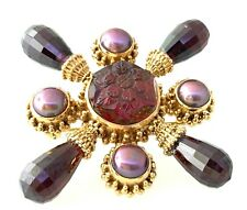 Stephen Dweck Design Garnet & Pearl Brooch Pin 18K Rose Gold.