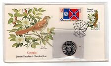 Georgia State Flag State Bird & Flower Fleetwood Unaddressed FDC & Proof Quarter