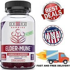 ELDERBERRY Immune Support Gummy Vitamins Zinc Antioxidant Supplement 60 Gummies