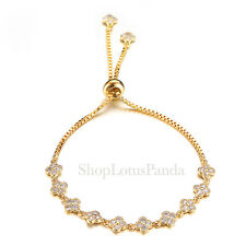 EXQUISITE 18kt Gold Plated CZ Crystals Clover Clovers Links Chain Bracelet
