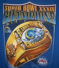 St Louis Rams Super Bowl T Shirt XL Champions Ring Graphic 2000 Blue Football