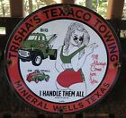 VINTAGE 1962 DATED PORCELAIN TRISHA'S TEXACO TOWING TEXAS GAS OIL SIGN