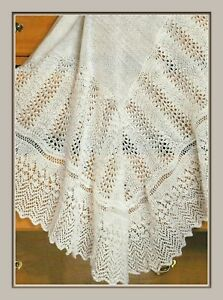 "Baby Heirloom Shawl Knittting Pattern Lace Border Gorgeous 3ply 48""  622"