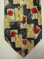 NEW $185 Escada Red Tulips on Blue and Cream Silk Tie Made in Italy
