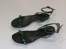 DRIES VAN NOTEN GREEN METALLIC LEATHER ANKLE STRAP DRESS FLAT SANDALS SHOES 39 9