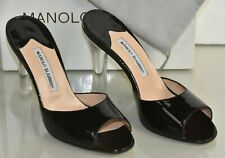 NEW Manolo Blahnik ASTUTA Patent Leather Sandals Black Slides Mules slides 40.5