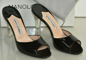 NEW Manolo Blahnik ASTUTA Patent Leather Sandals Black Slides Mules slides 40.5
