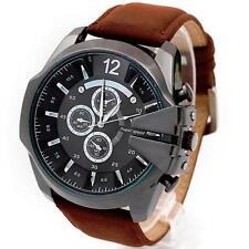Neu Mode Herren Sport Armbanduhren Edelstahl Leder Analog Quartz Militär Uhren