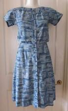 LIGHTLY WORN Vintage size 8 10 50s Soft Cotton Dress Blue Home Made Mid Century