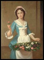 "* Young Lady with Flowers, 36""x24"" Oil Painting on Canvas, Hand Painted"