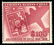 CHILE 1942  AIRMAIL - University of Chile 100pesos Scott # C89 mint MH  VF