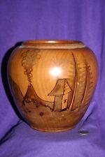Vintage hand turned hand painted wood bowl, vase, pot