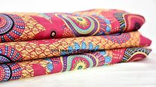 5 Yard Indian Pure Cotton Fabric Indigo Blue Abstract Hand Screen Printed Cloth