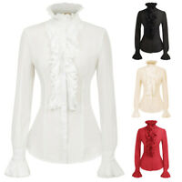 KK Women's Ruffles Decorated Shirt Tops Medieval Long Sleeve Stand Collar