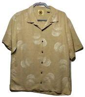PUSSER'S WEST INDIES Mens Medium 100% Silk Beige White Hawaiian Shirt