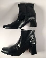 NIB Glacee Kyle Ankle Boots Comfort/Soft  Black Faux Leather Boots Sz 7W