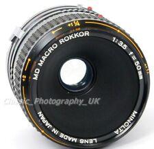 Minolta MD Macro Rokkor 1:3.5 f=50mm MACRO Lens MC + 1:2-1:1 LIFE Size Adapter
