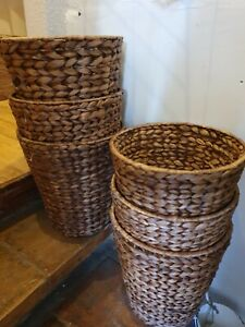 Round Water Hyacinth Litter Waste Paper Bin Basket Plant Pot Cover