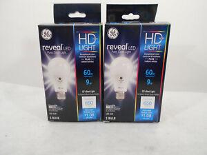 2 new GE Reveal HD+ 9W 60W light A19 LED bulbs Medium base bulb dimmable -  173