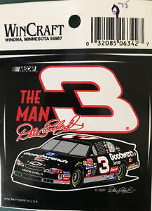 "Wincraft - NASCAR Decal -Sticker - Dale Earnhardt # 3 - The Man.   3"" Diameter"