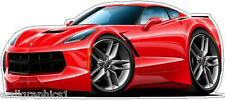 2014-15 Corvette Stingray Cartoon Car Wall Decal Game Room Graphics Garage Cling