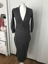 Ladies Per Una Grey 3/4 Sleeve Wool Blend  Knitted Dress Size 8L
