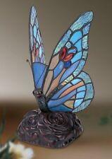 MOSAICO Blu Farfalla Tiffany Vetro Colorato Comodino Lampada Arredamento
